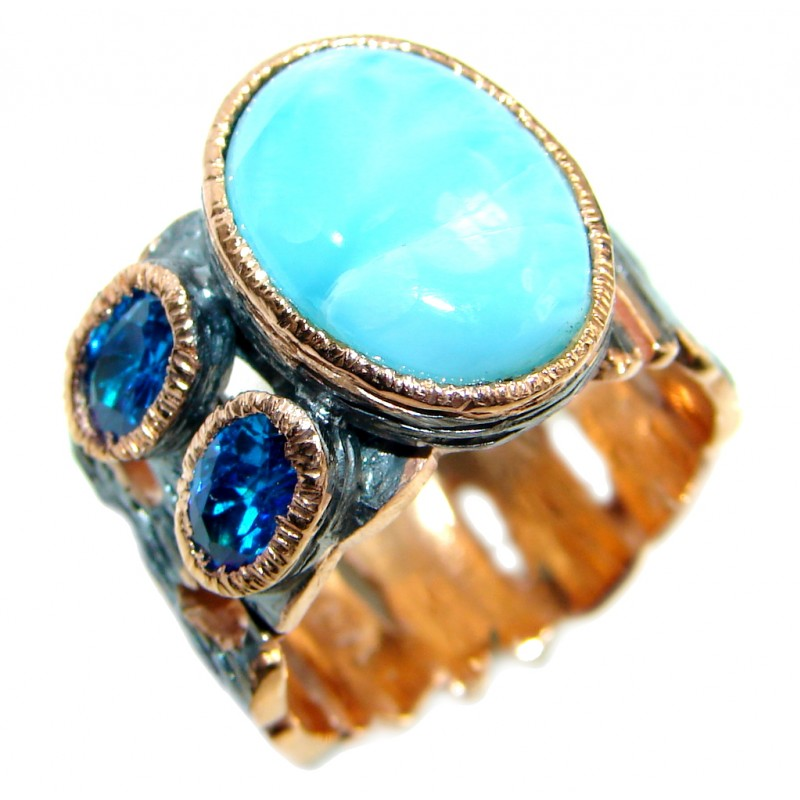 Larimar Gold plated over Oxidized Sterling Silver handmade Ring size 7