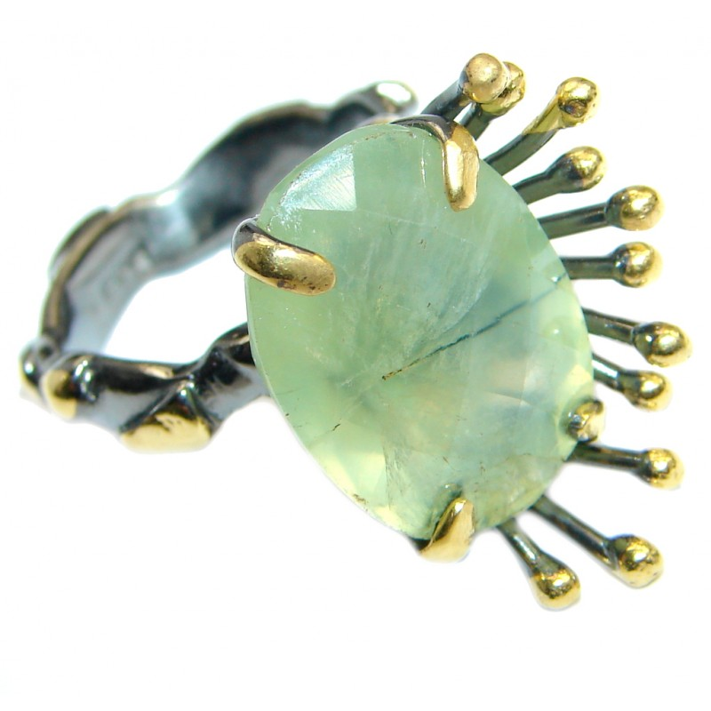 Natural Prehnite Gold plated over 925 Sterling Silver Ring Size 7 adjustable
