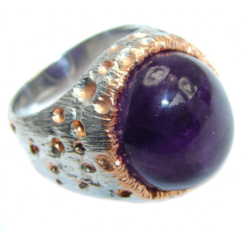Vintage Style Large Amethyst Gold plated over Sterling Silver ring; s. 8