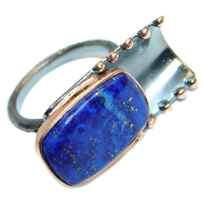 Blue Lapis Lazuli Rose Gold Rhodium plated over Sterling Silver Ring size 7 1/4