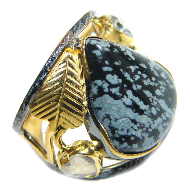 Black Snowflake Obsidian Gold Rhodium plated over Sterling Silver ring s. 6