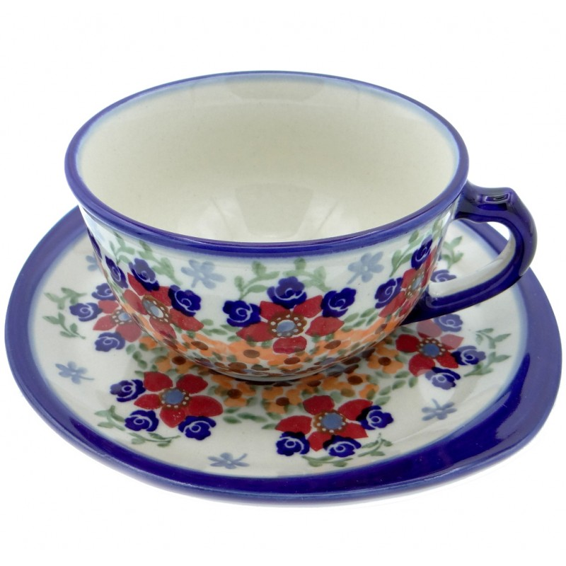 SilverrushStyle - Polish Pottery Teacup & Saucer - Marigolds Collection
