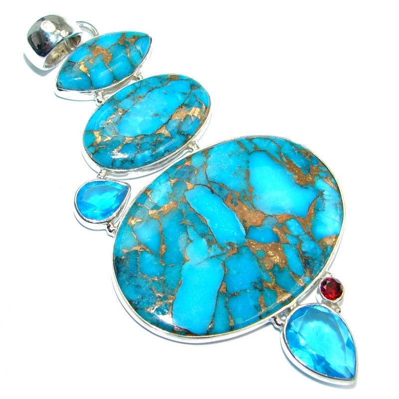 Huge Blue Copper vains Turquoise Sterling Silver handmade Pendant