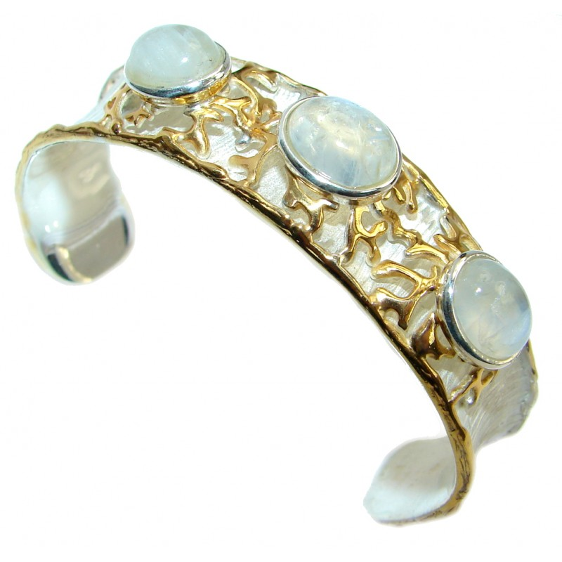Luxury Design Real Treasure Fire Moonstone Gold plated over Sterling Silver handmade in Italy Bracelet