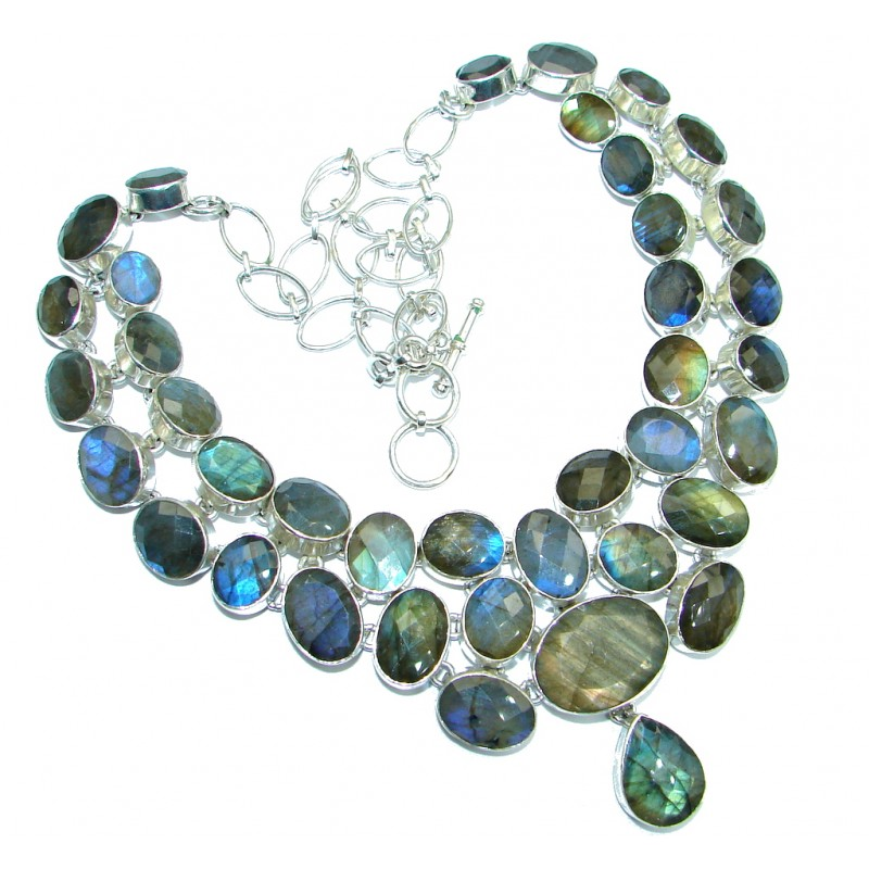 Chunky Cascade of Lights Labradorite hammered Sterling Silver entirely handcrafted necklace
