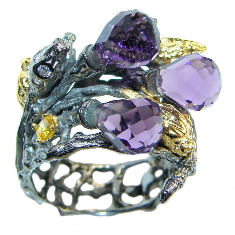 Fine Art natural Amethyst Gold plated over Sterling Silver ring; s. 6