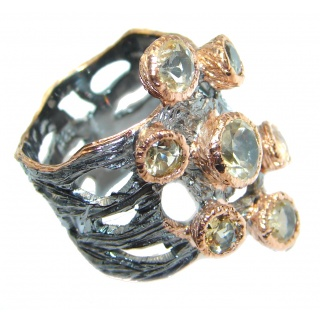 Seven Islands Citrine Gold plated over Sterling Silver Cocktail Ring size 8