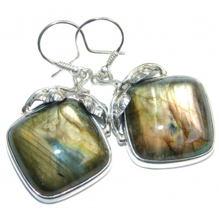 Large Perfect Modern Labradorite handmade Sterling Silver earrings