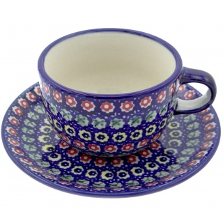 SilverrushStyle - Polish Pottery Teacup & Saucer - Spring Flowers Collection