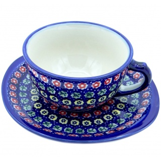 SilverrushStyle - Polish Pottery Teacup & Saucer -Spring Flowers Collection