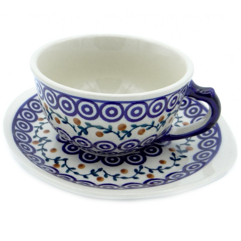 SilverrushStyle - Polish Pottery Teacup & Saucer - Summer Lake Collection