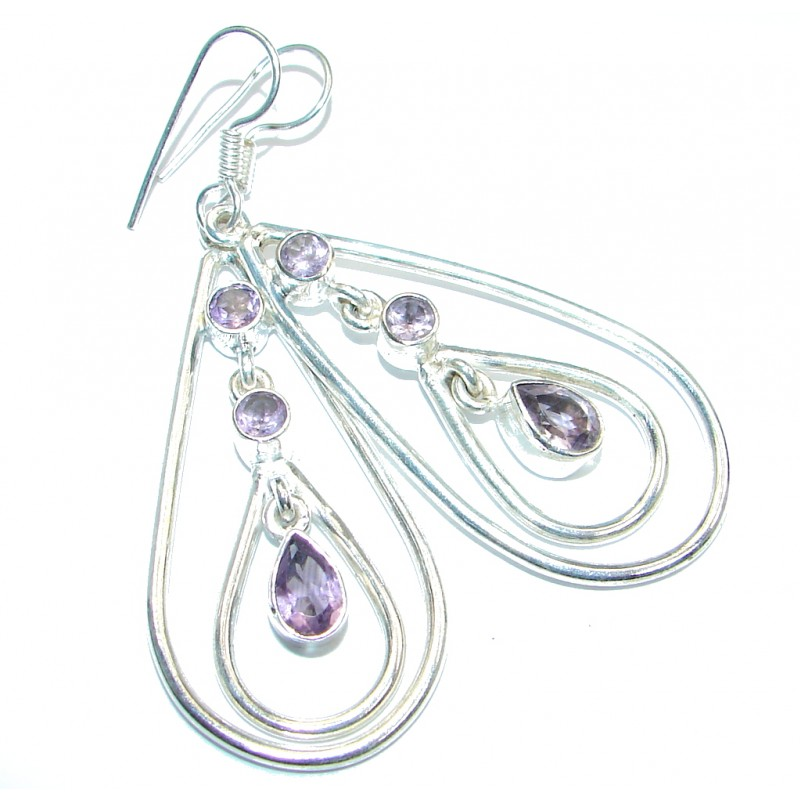 Great Pink Amethyst Silver Tone handmade earrings