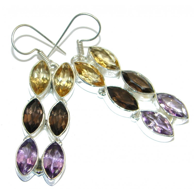 Huge Amethyst Silver Tone handmade earrings