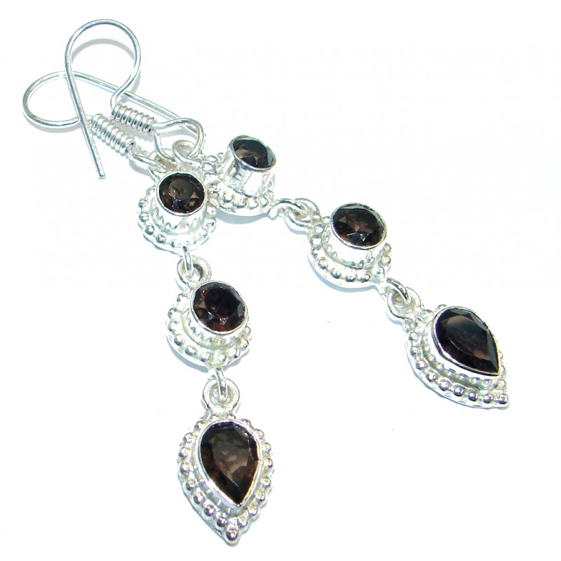 Huge Smoky Topaz Silver Tone handmade earrings