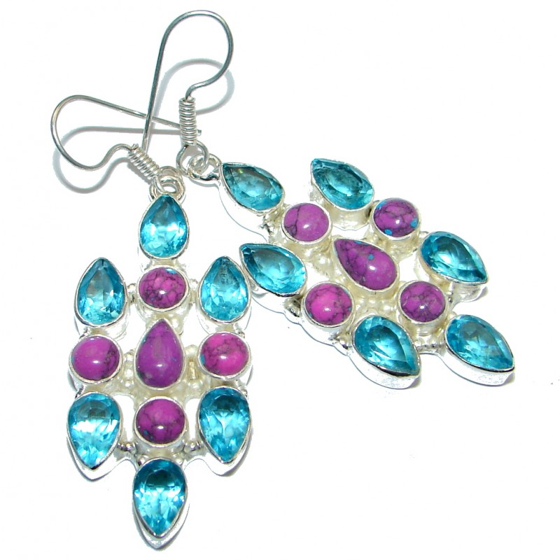 Handcrafted Purple Turquoise and Quartz Silver Tone earrings