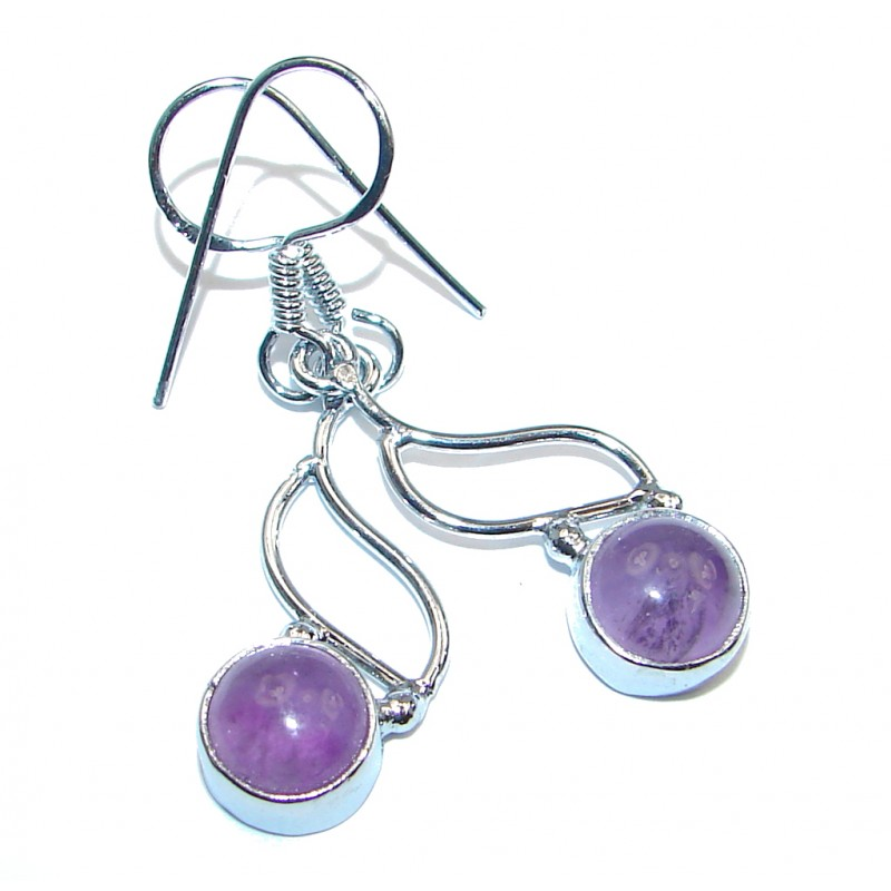 Natural Amethyst Silver Tone handmade earrings