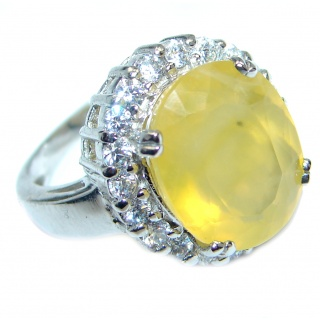 Big Energazing genuine Citrine Sterling Silver Cocktail Ring size 6 3/4