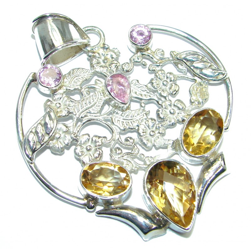 Incredible Citrine Pink Topaz Sterling Silver handmade Pendant