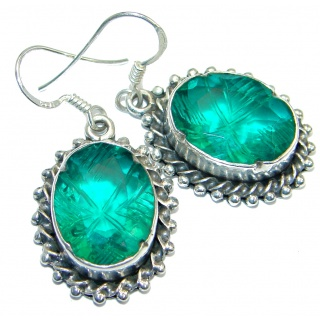 Perfect Green Quartz Sterling Silver handmade earrings