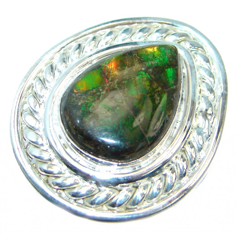 Orange Fire Genuine Canadian Ammolite Sterling Silver handmade ring size 8 1/2