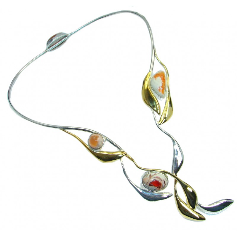 Large Master Piece genuine Mexican Opals Two Tones Sterling Silver brilliantly handcrafted necklace