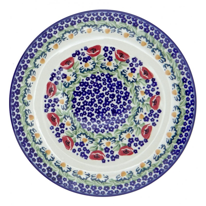 SilverrushStyle - Polish Pottery Large Dinner Plate - Poppies Collection