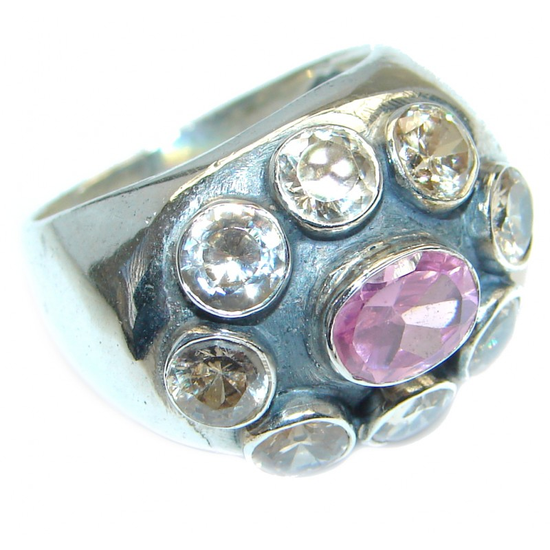 Very Fancy Flower Cubic Zirconia Sterling Silver Cocktail ring s. 9