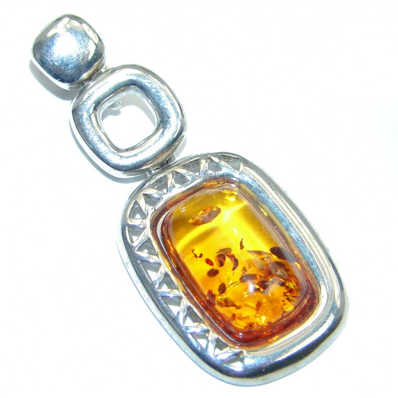 Unisex Natural Baltic Amber Sterling Silver handcrafted Pendant