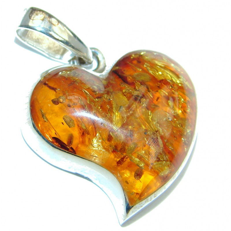 Heart Natural Baltic Amber Sterling Silver handcrafted Pendant