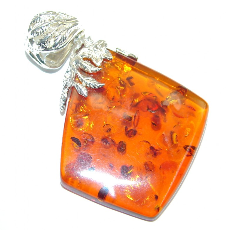 Sublime Natural Baltic Amber Sterling Silver handcrafted Pendant