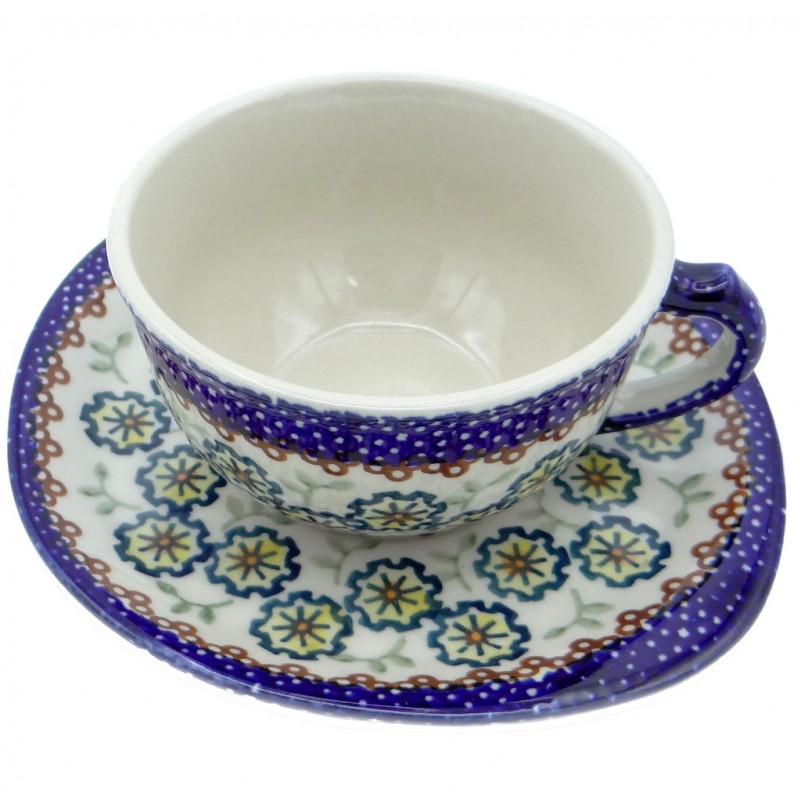 SilverrushStyle - Polish Pottery Teacup & Saucer - Daisies Collection