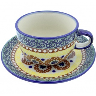 SilverrushStyle - Polish Pottery Teacup & Saucer - Sunny Valley Collection
