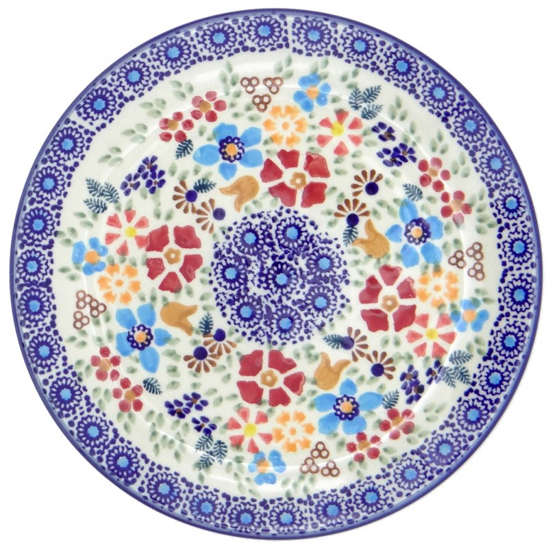SilverrushStyle - Polish Pottery Dessert Plate - Flower Hill Collection
