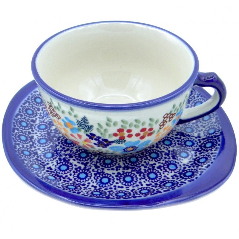 SilverrushStyle - Polish Pottery Teacup & Saucer - Flower Hill Collection