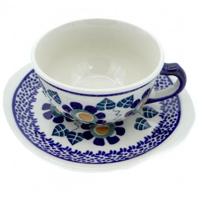 SilverrushStyle - Polish Pottery Teacup & Saucer - Pansy Collection