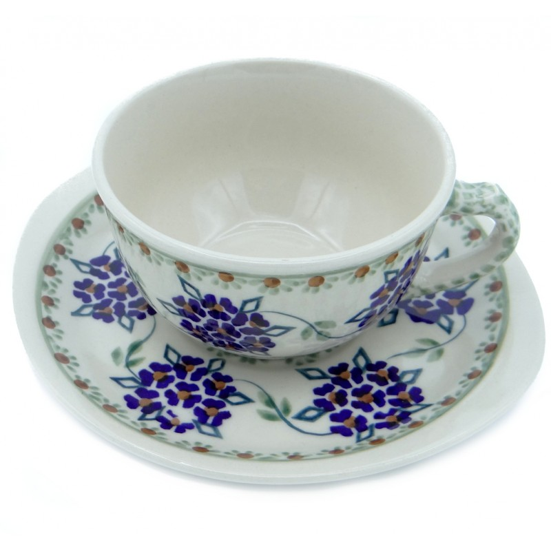 SilverrushStyle - Polish Pottery Teacup & Saucer - Forget-Me-Nots Collection