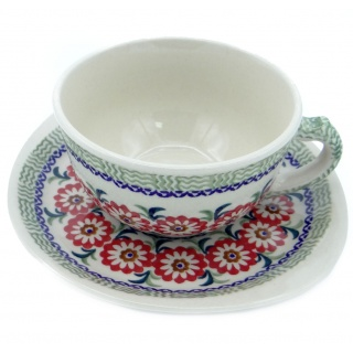 SilverrushStyle - Polish Pottery Teacup & Saucer - Green Valley Collection