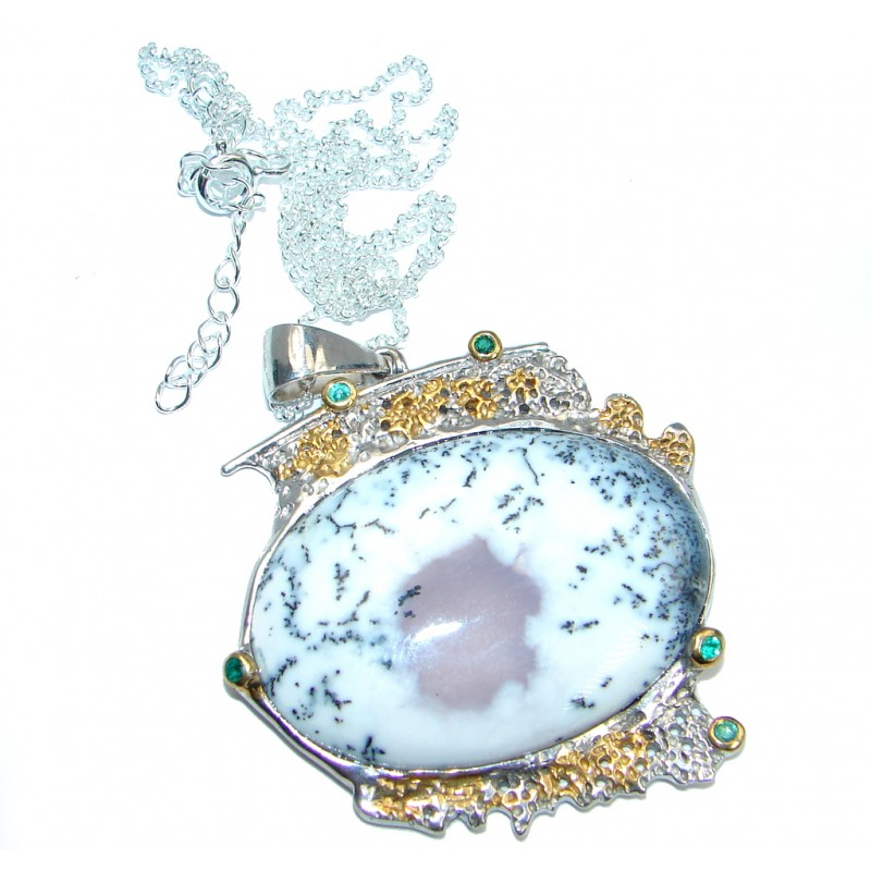 Fainth In Love Dendritic Agate Chrome Diopside Two Tones Sterling Silver necklace