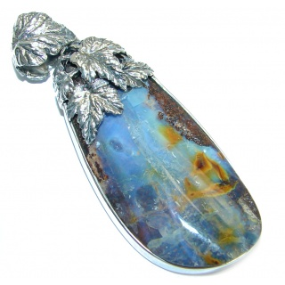 Beautiful Natural Australian Boulder Opal Oxidized Sterling Silver handmade Pendant