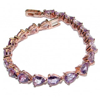Precious Natural Rich Amethyst Rose Gold plated over 925 Sterling Silver bracelet