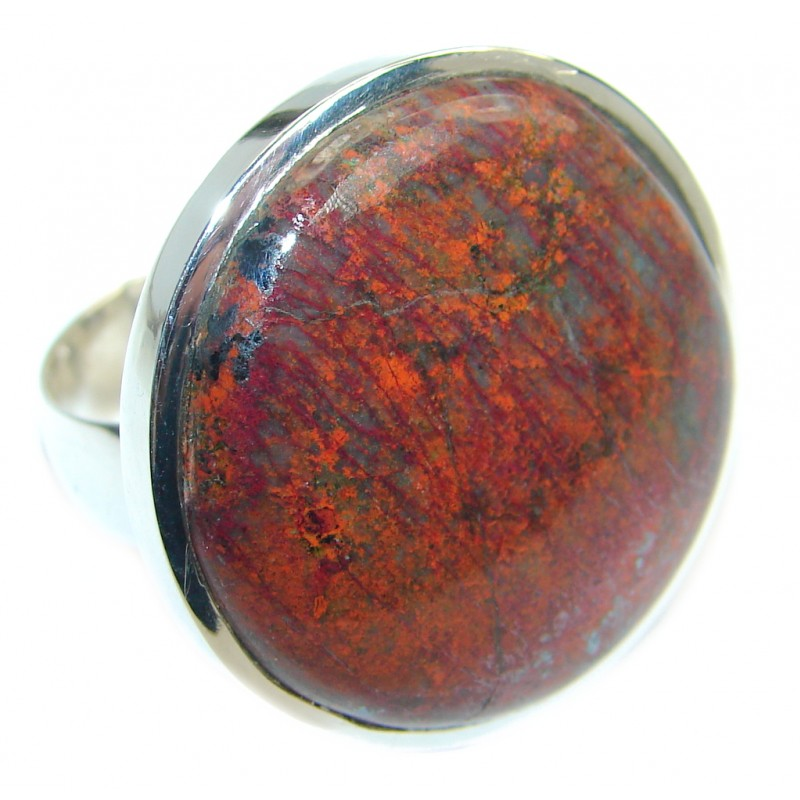 Perfect Sonora Jasper Sterling Silver handcrafted Ring size 7 adjustable