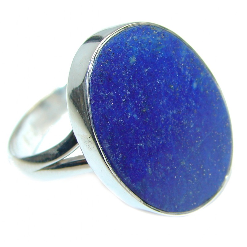 Genuine Lapis Lazuli Sterling Silver handmade Ring size 7 adjustable