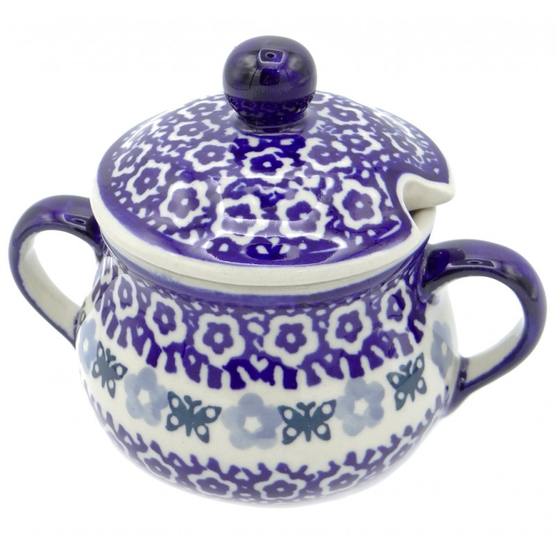 SilverrushStyle - Polish Pottery Sugar Bowl - Blue Lake Collection