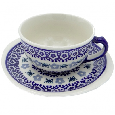 SilverrushStyle - Polish Pottery Teacup & Saucer - Blue Lake Collection