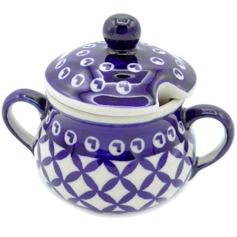 SilverrushStyle - Polish Pottery Sugar Bowl - Blue Arrow Collection
