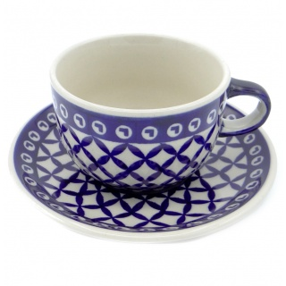 SilverrushStyle - Polish Pottery Teacup & Saucer - Blue Arrow Collection