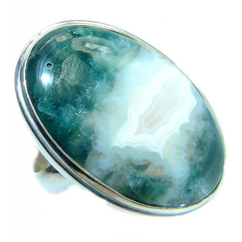 Genuine Ocean Jasper Sterling Silver handmade Ring s. 7 adjustable