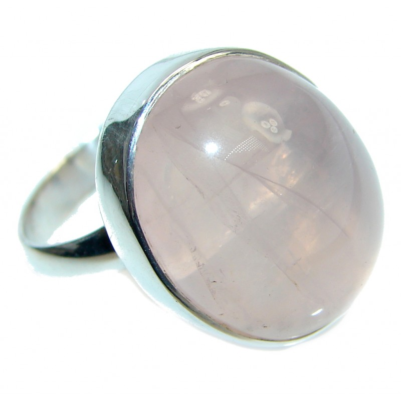 Real Beauty Rose Quartz Sterling Silver handmade Ring size 7 adjustable