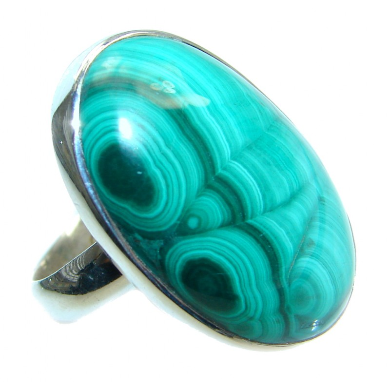 Natural great quality Malachite Sterling Silver handcrafted ring size 7 adjustable