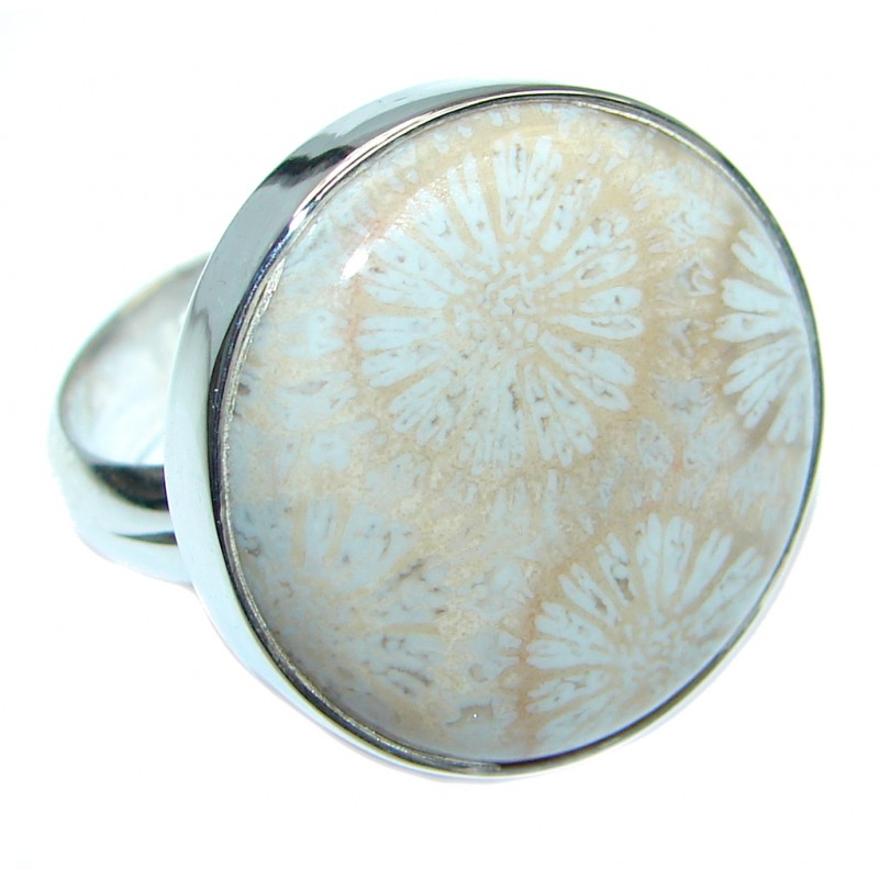 Great quality Fossilized Coral Sterling Silver handcrafted Ring size adjustable